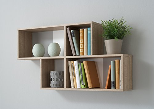 FMD furniture 270-001E - Mensola da Parete in Finto Rovere, Dimensioni ca. 100 x 53 x 19,5 cm (BHT), Pannello truciolare Rivestito in Resina melamminica.