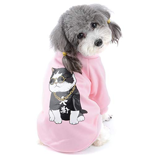 Zunea Abrigo de Invierno para Perros Pequeños Ropa de Slgodón Acolchado Cálido Suave Jersey para Chihuahua Yorkshire para Mascotas Niña Niño Rosa XXL