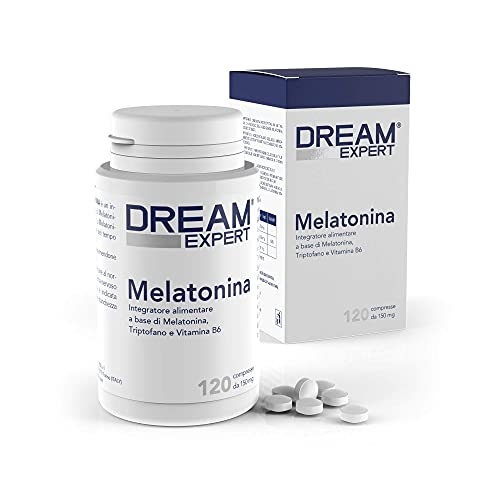 Melatonina per dormire 120 Compresse Dulàc Dream Expert, Pastiglie per dormire con Melatonina 1 mg, Triptofano e Vitamina B6, Integratore per dormire bene, Regola e Favorisce il Sonno profondo