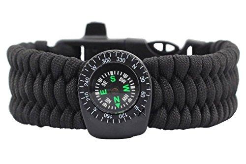 ZENDY Paracord Bracelet Corde avec grattoir Firestarter Inoxydable et sifflet et Kits de Vitesse Boussole Multifonctions Outil de Survie en Plein air (Noir)