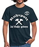 Ruhrpott, auf Kohle geboren Männer T-Shirt, XL, Navy