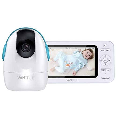 Vantrue A1 720P 5' Video Baby Monitor with Camera and Audio, 980ft Range 2-Way Talk, Infrared Night Vision, VOX, Temperature Alert, Lullabies, Remote Pan-Tilt-Zoom