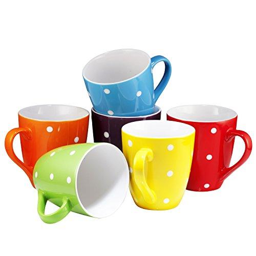 Coffee Mug Set Set of 6 Large-sized 16 Ounce Ceramic Coffee Mugs Restaurant Coffee Mugs By Bruntmor, Polka Dot