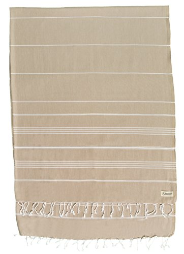 Bersuse 100% Algodón - Anatolia XXL Manta Toalla Turca - Multiusos Colcha de Cama, Funda de Sofa - Fouta para Baño y Playa - Oeko-Tex - 155 x 210 cm, Beige (Conjunto de 3)