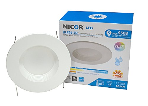 NICOR Lighting 6 inch Sunset Dimming LED Recessed Downlight in White (DLR56-SD-1007-WH-BF)