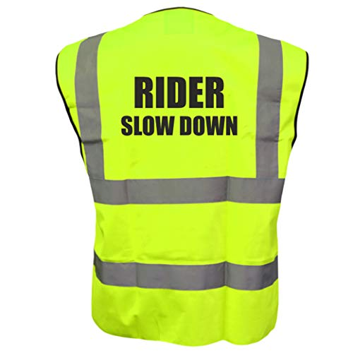 Hi Vis Rider zwolniona żółta kamizelka kamizelka jeździectwo jeździectwo jeździectwo bezpieczeństwo odblaskowa kurtka droga bezpieczeństwo plus Brook Hi Vis UK kod zniżkowy na następne zamówienie