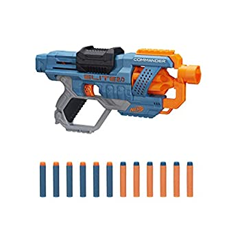 NERF Elite 2.0 Commander RD-6 Blaster 12 Official Darts 6-Dart Rotating Drum Tactical Rails Barrel and Stock Attachment Points