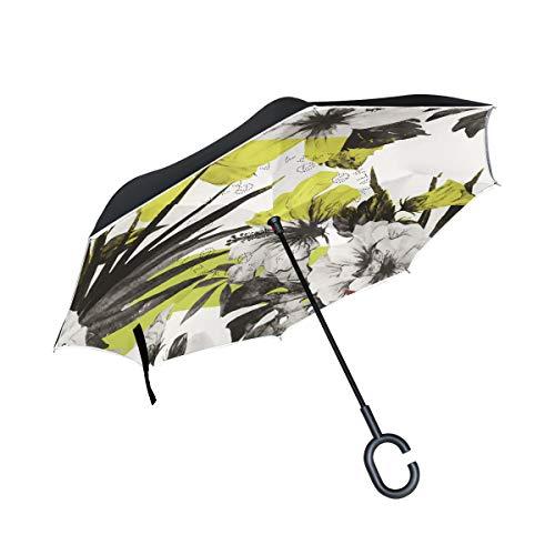 XiangHeFu Paraguas Reverso invertido de Doble Capa Flor Vector Plegable A Prueba de Viento Protección UV Grande Recto para automóvil con Mango en Forma de C