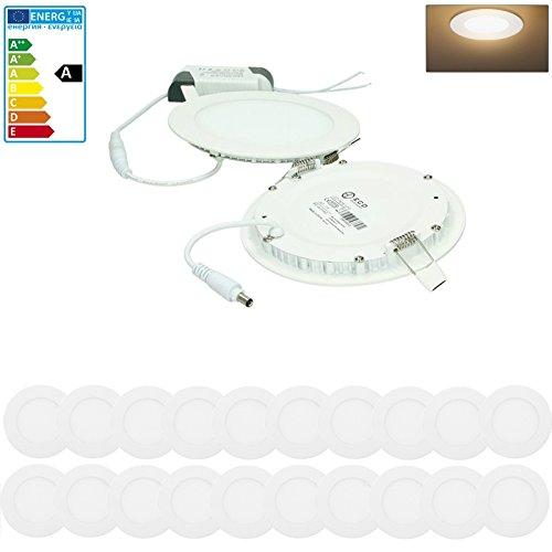 Preisvergleich Produktbild ECD Germany 20er Pack LED Panel Einbaustrahler 9W ersetzt 50W Halogen - Flach Ultraslim - Rund Ø14.5cm - Warmweiß 3000K - IP44 - Flur Bad Küche - Deckenstrahler Deckenleuchte Einbauleuchten Spot Lampe