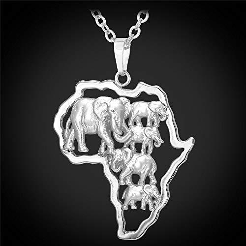 YOUHU Collar Mujer Mapa,Mapa De África Colgante De Metal Encantos De Elefantes De Plata Mapa del País Cadena Especial Mujeres Hombres Unisex Moda Animal Joyería Regalo
