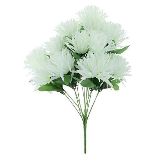 FLAMEER Künstliche Seide Chrysantheme Bouquet Memorial Day Friedhof Grabschmuck - Weiß