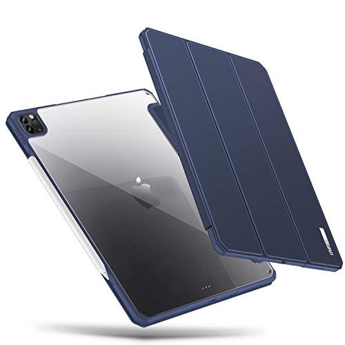 INFILAND Funda para iPad Pro 12.9 2020/2018,Revestimiento lateral del TPU bastidor, pared posterior transparente,Puede Carga Inalámbrica Apple Pencil2 con Automático Reposo/Actividad,Azul Oscuro