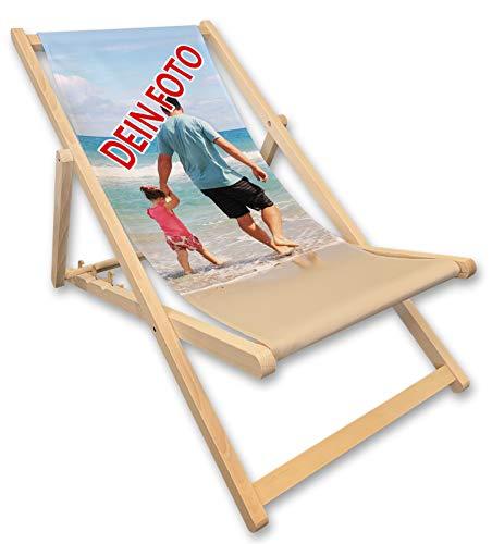 Werbetreff Gera Liegestuhl mit Foto, Fotogeschenk, individuell Bedruckt Strandstuhl, Geschenkidee Bild Oma Opa Mama Papa