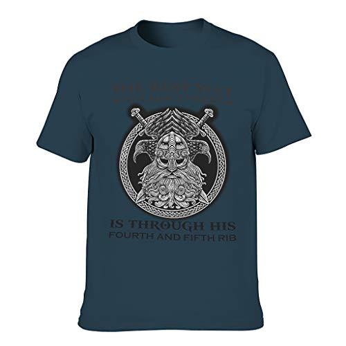 Camiseta de algodón para hombre, diseño con texto en alemán 'Der Beste Weg ins Herz ein Mannes' azul marino L