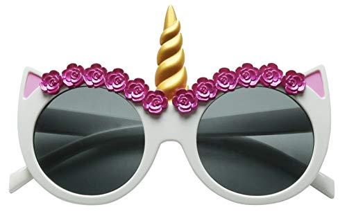 ShadyVEU Unicorn Horn Round Sunglasses Children Toddler Kids UV Protection Age 2 to 8 Cute Small Fashion Shades (White)