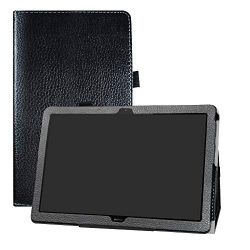 LFDZ Huawei MediaPad T5 Hoesje,Oppervlak met behulp van hoge kwaliteit synthetisch leer Hoes Voor Huawei MediaPad T5 10-Inch 2018 Tablet,Zwart