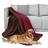 DEARTOWN Waterproof Dog Blanket for Bed Couch Sofa 70x90 Inches, Reversible Microfiber Dog Bed Cover for Large Dogs, Puppies