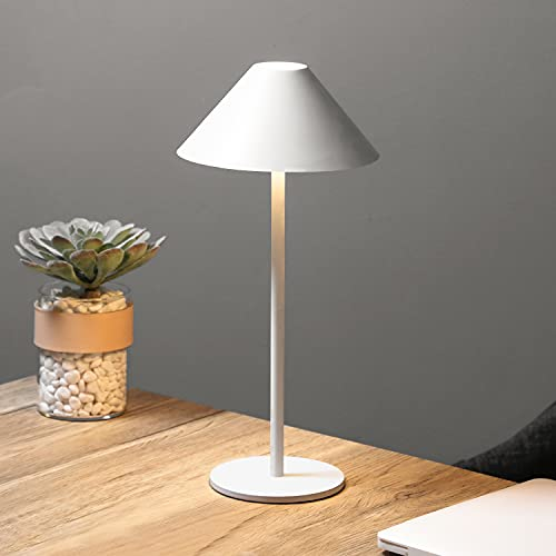 Bojim Lámpara de Mesa Táctil LED IP54, Regulable Lampada da Scrivania Inalámbrica Portátil 3000K para usar Interior y Exterior, 3W 240LM Lampada da Tavolo de Aluminio Blanco, Recargable USB-C