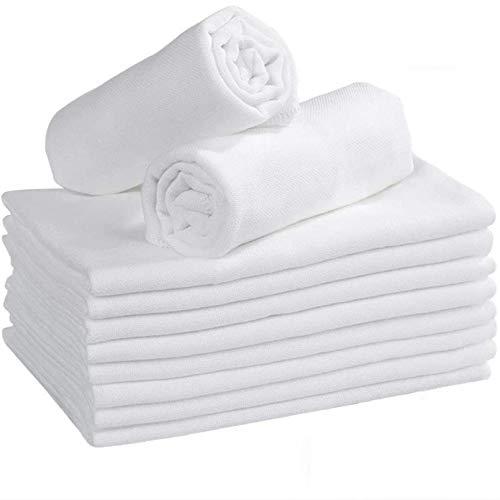 Yoofoss Mussola Neonati, 10-Pezzi Mussola Bambini di Cotone Biologico al 100% Mussola Cotone e Asciugamano Cotone Bambino per Bambini e Mamme (35x50cm- 3 Strati)