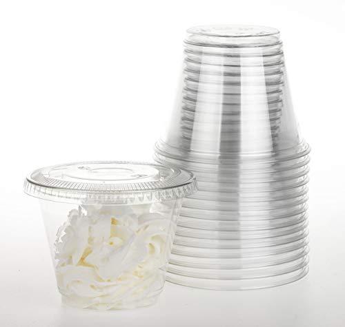 Juego de 30 vasos de color con tapa plana, sin agujeros, 9 onzas, 9 Ounce, Transparente, 50