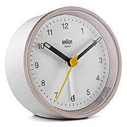 Braun Classic Analogue Alarm Clock with Snooze and Light, Quiet Quartz Movement, Crescendo Beep Alarm in White and Rose, Model BC12PW.