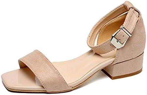 Damen Sandalen Sandalen Sandalen High Heels Offene Kappe Schnalle Bequeme Atmungsaktive Sommer Freizeit Leder Loafers 35-44  70% günstiger