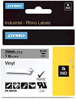 "DYMO Industrial Labels for DYMO Industrial Rhino Label Makers, Black on Gray, 1"", (1805425)"