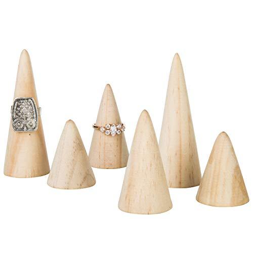 MyGift - Set di 6 anelli in legno naturale