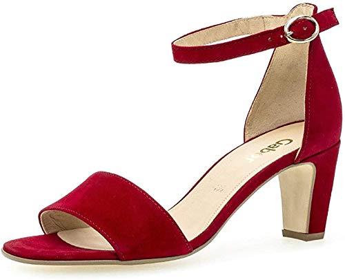 Gabor Damen Sandaletten 21.860.15, Frauen Sandaletten,Sommerschuhe,offene Absatzschuhe,hoher Absatz,Rubin,39 EU / 6 UK