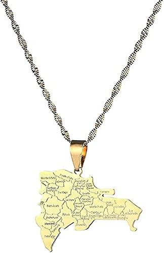 NC190 Collar de Acero Inoxidable de Moda Mapa dominicano con Nombre de la Ciudad Collares Pendientes Mapa dominicano Collar de joyería Longitud 50cm