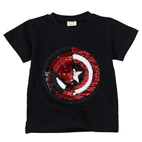 Niño niña Camiseta con Lentejuelas Camiseta mágica de Lentejuelas de Manga Corta (130, A)