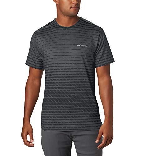 Columbia Tech Trail Print Camiseta de Manga Corta, Hombre, Negro (Black Ombre), M