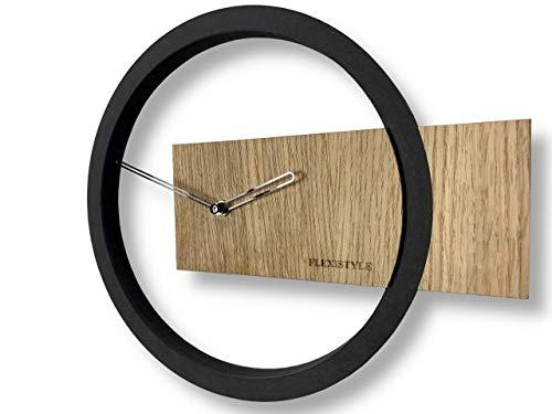 FLEXISTYLE Wanduhr ohne tickgeräusche Wood Oak 1 Schwarz 32cm, Wohnzimmer, Schlafzimmer, in EU hergestellt