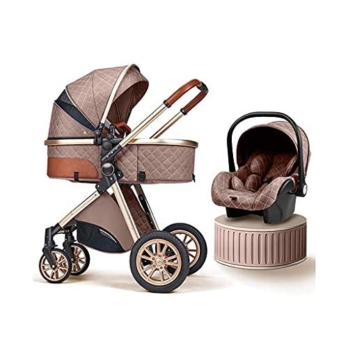 3 en 1 Sistema de viaje de cochecitos de cochecito de bebé, cochecitos de bebé plegables de alta descarga anti-shock con un organizador de cochecitos, colchón usado en 0-3 años de edad ( Color : E )