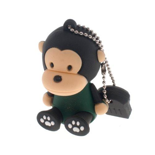 Alldaymall - Chiavetta USB da 16 GB a forma di simpatica scimmia cartone animato, colore nero