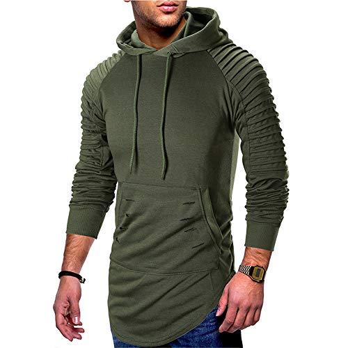 Suéter de los hombres de la juventud Casual con capucha agujero plisado hombro chaqueta