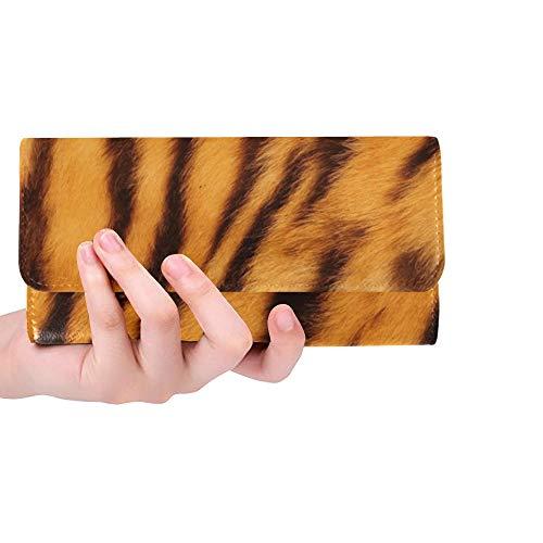 Einzigartige benutzerdefinierte schöne Tiger Fell Bunte Textur Orange Frauen Trifold Wallet Lange Geldbörse Kreditkarteninhaber Fall Handtasche