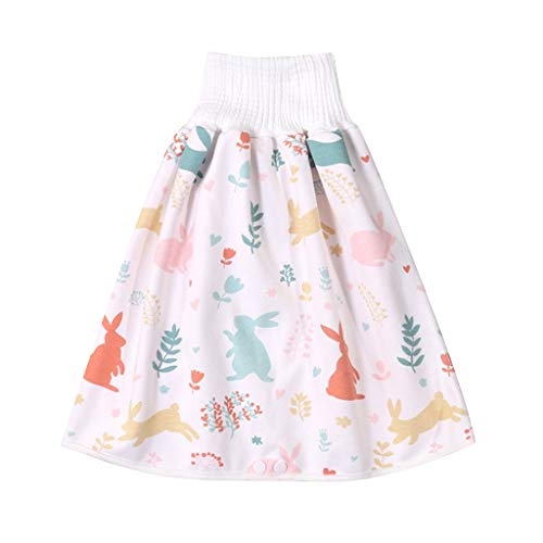 Comfy Children's Diaper Skirt Shorts 2 in 1,Anti Bed-wetting Washable Cotton Bamboo Fiber Waterproof Bed Clothes for Baby Boy Girl Night Time Sleeping Potty Training (4~8Y, D)