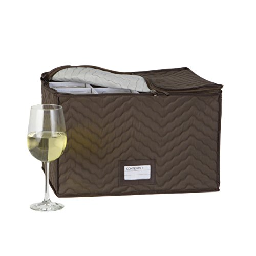 Wine Glass Goblets Deluxe china Storage Chest- Holds 12 Stemware Glasses-Brown Quilted Microfiber fabric-Protect your valuable glassware from scratches and cracks–by Richards Homeware