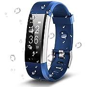 Antimi Youth Armband, Wasserdicht IP67 Fitness Tracker, Pulsuhren, Schrittzähler, Kamerasteuerung, Vibrationsalarm Anruf SMS Whatsapp Beachten kompatibel mit iPhone Android Handy, Blau