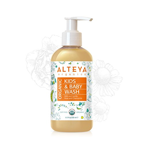 Alteya Bio Babywaschlotion und Shampoo 250ml – USDA Organic-zertifiziert Biologisch abbaubar Rein Natürlich Vegan Seife und Shampoo für Körper und Haare, Sanft und zart für besonders empfindliche Haut