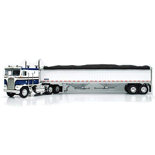 1/64 High Detail Kenworth K-100 with Wilson High Sided Hopper Bottom Grain Trailers, DCP Exclusive Blue/White 60-0893