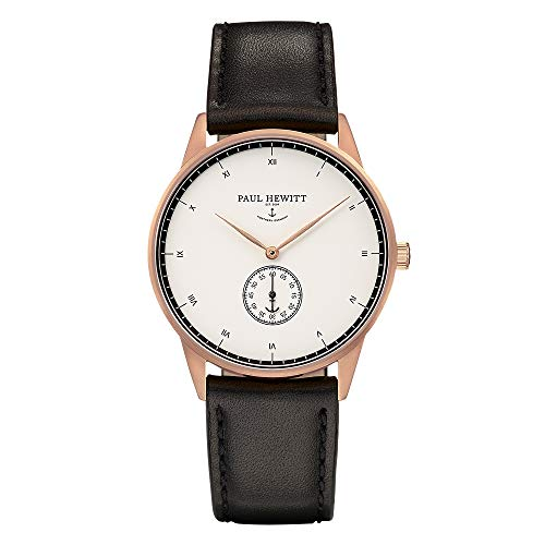 Paul Hewitt Unisex Analog Quarz Uhr mit Leder Armband PH-M1-R-W-2M