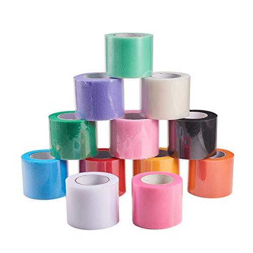 BENECREAT 12 Rollos 270m Tul de Colores de 5cm Ancho Tela de Carrete Rollo de Tul para Lazo Falda Boda Fiesta 12 Colores 22.5m / Rollo