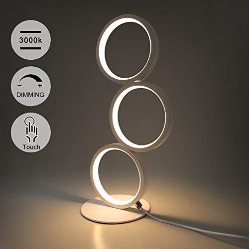 GBLY LED Tischlampe Touch Dimmar Modern Nachtischlampe Ring Weiß Schreibtischlampe Warmweiß 3000K aus Aluminium Touch Switch Nachtlampe mit Stecker für Schlafzimmer Wohnzimmer Arbeitszimmer Büro