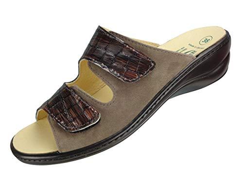 Algemare Damen Leder Pantolette 'Nubuk Kroko' Keilpantolette mit Algen-Kork Wechselfußbett Made in Germany 1447_4146 Fußbettpantolette mit Absatz, Größe:38 EU