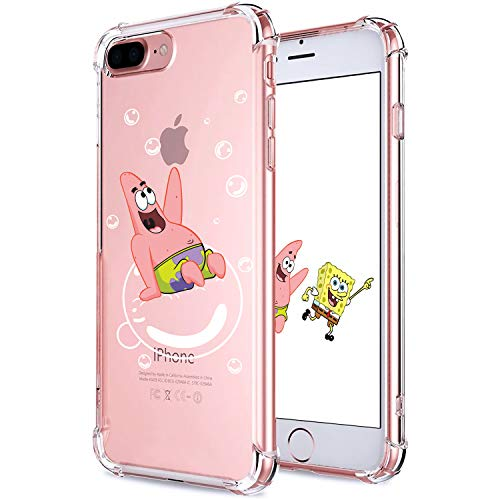 Allsky Case for iPhone 7 Plus/8 Plus 5.5',Clear Cartoon Design Pattern Soft Cute Fun Ultra-Thin Cover,Kawaii Kids Girls Teens Animal Skin Creative Shockproof Funny.Cases for iPhone 7/8 Plus Patrick