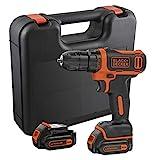 BLACK+DECKER BDCDD12KB-QW Perceuse visseuse sans fil - Chargeur inclus - Livrée en coffret, 12V, Coffret, 2 Batteries