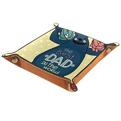 Caja de almacenamiento pequeña, bandeja de valet para hombre,Hermoso oso papá niños corazón corazón de fondo ,Organizador de cuero para llaves de caja de monedas