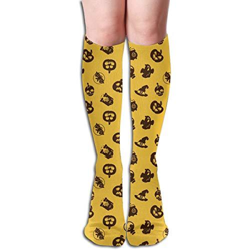 Bunte Socken Halloween Feiertags Piktogramme Der Kürbis Geist Magischen Hut Schädel Ikonen Druckten Die Kniehohen 50 Cm Kompressions Socken Zufälligen Athletischen Socken
